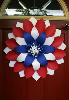 Fourth of july wreath / Front Door Wreaths /Patriotic Wreath / of July Wreaths / America flag Wreaths / fourth of july wreath Welcome to a new collection of handmade decor featuring 16 Patriotic Handmade Wreath Designs For of July. Flag Wreath, Patriotic Wreath, Patriotic Crafts, July Crafts, Fourth Of July Decor, 4th Of July Decorations, 4th Of July Wreath, July 4th, Memorial Day Decorations