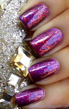 Barielle: Elle's Spell (over purple)...so gorgeous. I have this polish, I'm going to try this...eventually haha