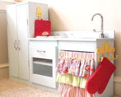 DIY Pottery Barn Inspired Kids Kitchen Set--Follow this link to her build link to the original idea/instructions link...whew!