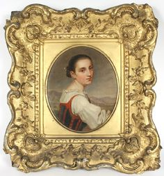 Oil on canvas of a Tyrolean woman owned by Confederate Colonel Randal McGavock   c.1850