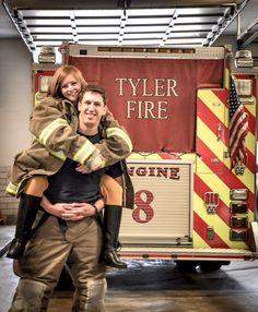 Firefighter Firefighter Engagement, Engagement Pictures, Wedding Pictures, Wedding Engagement, Wedding Ideas, Fire Dept, Fire Department, Picture Ideas, Photo Ideas