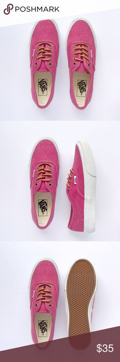 New Vans Authentic Never been worn, washed heavy canvas with leather shoelaces. W/O box. Women's size 7 / Men's size 5.5 Vans Shoes Sneakers