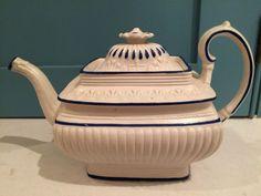 Circa 1820 white stoneware Castelford teapot.