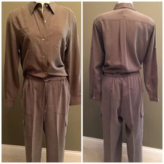 Two piece Petite Sophisticate, olive green outfit Reduced Beautiful 100% silk, blouse with tabs to roll up sleeves Sz 10. Slacks are also 100% silk, Sz 12P has cargo pocket draw string waist. Both prefect condition, barely worn. Perfect for late night drink by the fireside. Hand wash Petite Sophisticate Other