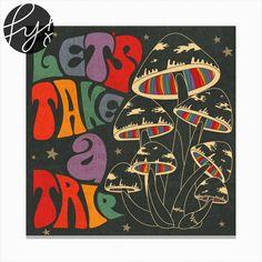 Lets Take A Trip Magic Mushroom Square Canvas Print