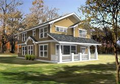 Cottage Style House Plan - 3 Beds 2.5 Baths 2044 Sq/Ft Plan #100-402 - Houseplans.com Cottage Style House Plans, Bungalow House Plans, Cottage Style Homes, Craftsman Style House Plans, Cottage House Plans, Country House Plans, Narrow Lot House Plans, Best House Plans, Dream House Plans