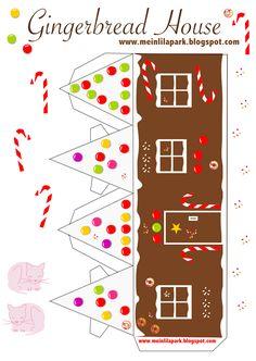 Free printable gingerbread house No2 - ausdruckbares Lebkuchenhaus - freebie   MeinLilaPark – digital freebies