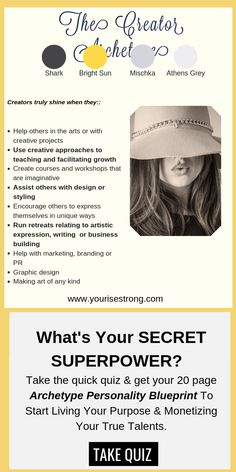 """Take the quiz to receive your page """"Soul Brand Blueprint"""". Discover Your Natural Talents That Lead To Your Profitable Life Purpose Jungian Archetypes, Brand Archetypes, Superpower Quiz, Character Types, Life Coaching Tools, Enneagram Types, Art Prompts, Life Purpose, Business Branding"""