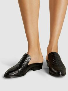 Alice Python-Effect Leather Slippers,