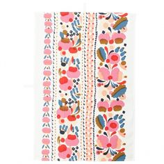 Marimekko's Tuppura kitchen towel is adorned with linear compositions of beautiful buds and blooms. The rich floral pattern, designed by Aino-Maija Metsola, features delicious shades of red, pink and peach on a crisp white background. Fabric Patterns, Color Patterns, Print Patterns, Floral Patterns, Marimekko, Space Drawings, Art Nouveau, Morris, Home Decor Online