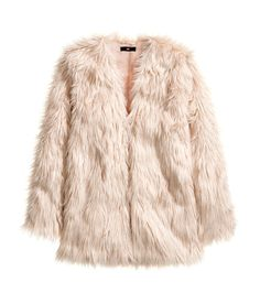 This dusty pink faux fur jacket is sweetly luxurious. #HMPastels