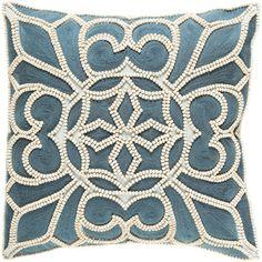 """House of Hampton Baltz Cotton Pillow Cover Size: 18"""" H x 18"""" W x 0.25"""" D, Color: Blue"""