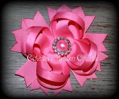 Beautiful hair bow  Solid Pink boutique hair bow