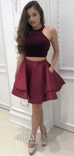 On Sale Dazzling Two Pieces Homecoming Dresses Two Pieces Halter Homecoming Dress Burgundy Short Prom Dress Party Dress Prom Dress Two Piece, 2 Piece Homecoming Dresses, Burgundy Homecoming Dresses, Prom Dresses With Pockets, Prom Party Dresses, Graduation Dresses, Party Gowns, 2 Piece Dress Short, Burgundy Dress
