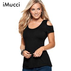 >> Click to Buy << iMucci New Back Hollow out Sexy T shirt Women Fashion Off the Shoulder Short Sleeve Irregular T-shirts for Women Black Tops Sexy #Affiliate