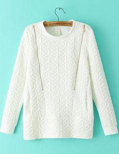 White Long Sleeve Zipper Jacquard Sweatshirt pictures