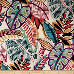 STORE WIDE SALE Tropical P Kaufman Aruba Fabric from small window curtains through 2 story extra long drapes choose your length – Home living color wall treatment kitchen design Mural Art, Wall Murals, Textile Patterns, Print Patterns, Textiles, Fabric Design, Pattern Design, Small Window Curtains, Tropical Pattern