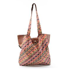 mosaic tote that is waterproof & holds 3 supermarket plastic bags full of stuff