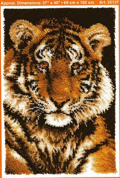 JP J P J P Coats Tiger Latch Hook Rug Pattern Only No Yarn Or Canvas  Included | EBay
