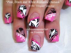 Nail-art by Robin Moses. Pink Black and White Damask