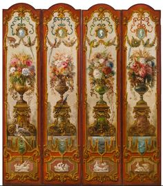 """Everett Shinn (American, 1876-1953).  Four panels of a ten-panel decorative screen from the Ballard House, Louisville, Kentucky   signed and dated """"Painted/ by/ Everett Shinn/ 1911"""" (on the reverse)  oil on canvas stretched with wood"""