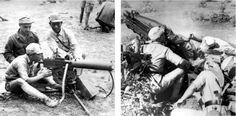 Chinese troops learning to handle a .30-caliber M1917A1 Browning machine gun (top left) and a 75mm. pack howitzer M1A1 (top right)