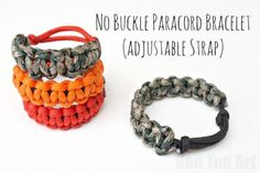 How to make Paracord Bracelets - this tutorial shows how to make the bracelets without buckles - great for any time any place. My son adores his.