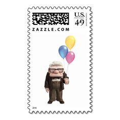 Carl from the Disney Pixar UP Movie Holding Postage Stamps