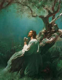 Jesus in the Garden of Gethsemane on the Mount of Olives. He was in such agony of prayer that the Bible says his sweat was as drops of blood. An angel came ...
