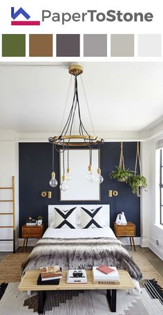 Bedroom color palette - black dark-grayish-blue dark-orange dark-scarlet orange