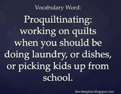 Vocabulary Word: Proquiltinating: working on quilts when you should be doing laundry, or dishes, or picking kids up from school. I would use pro-craft-inating Quilting Room, Quilting Tips, Longarm Quilting, Project Life, Sewing Humor, Quilting Quotes, Sewing Quotes, Stitch Witchery, Quilt Labels