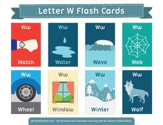 Free Printable Letter W Flash Cards Kindergarten Syllabus, Kindergarten Language Arts, Free Printable Flash Cards, Printable Letters, Learning English For Kids, Teaching English, English Fun, English Lessons, Letter Flashcards