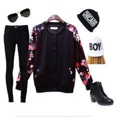 black jacket with print flower~ fashion girl
