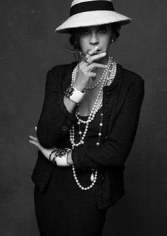 Carine Roitfeld as Coco Chanel, shot by Karl Lagerfeld for The Little Black Jacket project.