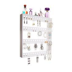 Wall Mount Earring Holder Hanging Jewelry Organizer Closet Storage Rack w/Tray, #AngelynnsJewelryOrganizers
