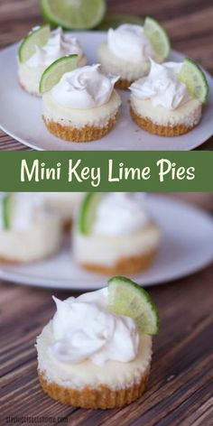 mini key lime pies are the perfect dessert bar size. small Key Lime pies Mini Key Lime Pie Recipes are the perfect dessert bar recipe. Individual key lime pies are great for entertaining. Mini Desserts, Key Lime Desserts, Easy Desserts, Delicious Desserts, Mini Dessert Recipes, Small Desserts, Desserts Menu, Indian Desserts, Easter Recipes