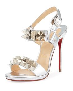 CHRISTIAN LOUBOUTIN Miziggoo Spiked Two-Band Red Sole Sandal, Silver. #christianlouboutin #shoes #sandals