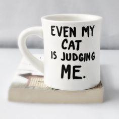 Cat Funny Mug coffee tea cup diner mug black white by KnotworkShop