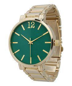 Look at this #zulilyfind! Teal & Gold Boyfriend Bracelet Watch #zulilyfinds