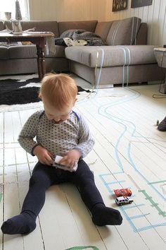 What a fantastic idea...tape roads...parking places ect everywhere!  Perfect car play for the winter months!
