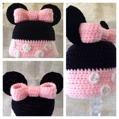 Minnie/Mickey Mouse Hat pattern by Amber Hoover Crochet Minnie Mouse Hat, Mickey Mouse Hat, Crochet Disney, Crochet Baby, Knit Crochet, Knitting Patterns, Crochet Patterns, Crochet Beanie Hat, Disney Diy