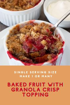 This simple recipe, made in individual ramekins, is actually a template for a fruit crisp or crumble with a granola streusel topping. It's simple, scrumptious, and easily scalable for a single serving or a crowd. Vegetarian Breakfast, Breakfast Recipes, Raw Oats, Granola Cereal, Streusel Topping, Frozen Fruit, Cereal Recipes, Food Hacks