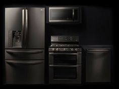 Matte black appliances will go nicely with natural granite countertops.