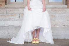How cute is this bride's pop of color for her yellow and gray themed wedding? We love it! Click the image to learn more. Photo credit: Modern Heart Photography