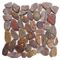 Islander Red Sapphire 12 in. x 12 in. Sliced Natural Pebble Stone Floor and Wall Tile