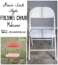 Easy Grain Sack Style Painted Folding Chair Makeover
