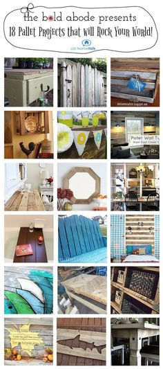 really wanting to do something with a pallet! 18 DIY Pallet Projects from Bold Abode