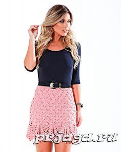 Розовая юбочка крючком