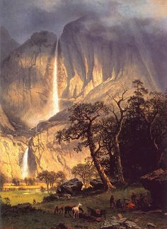 Cho-looke, The Yosemite Fall: 1864 by Albert Bierstadt (Timken Museum of Art - San Diego) - Hudson River School