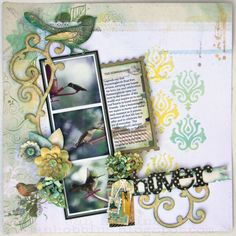 Sizzix Die Cutting Inspiration and Tips: Hover Hummingbird Layout using your dies to make stencils. Scrapbook Designs, Scrapbook Page Layouts, Scrapbook Paper Crafts, Scrapbook Albums, Scrapbook Cards, Scrapbooking Ideas, Photo Layouts, Digital Scrapbooking, Distressed Painting
